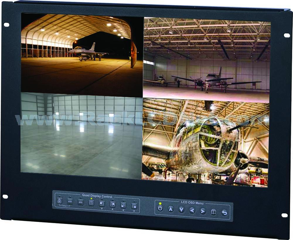 "LM8P-19WQ 8U 19"" Rackmount Widescreen LCD Quad Display"