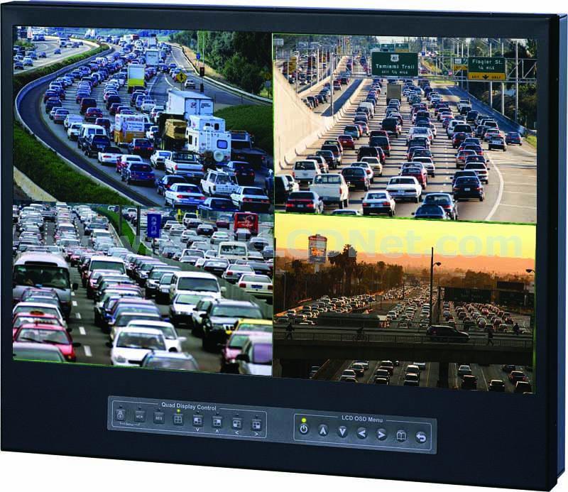 "LM9P-22WQ 9U 22"" Rackmount Widescreen LCD Quad Display"