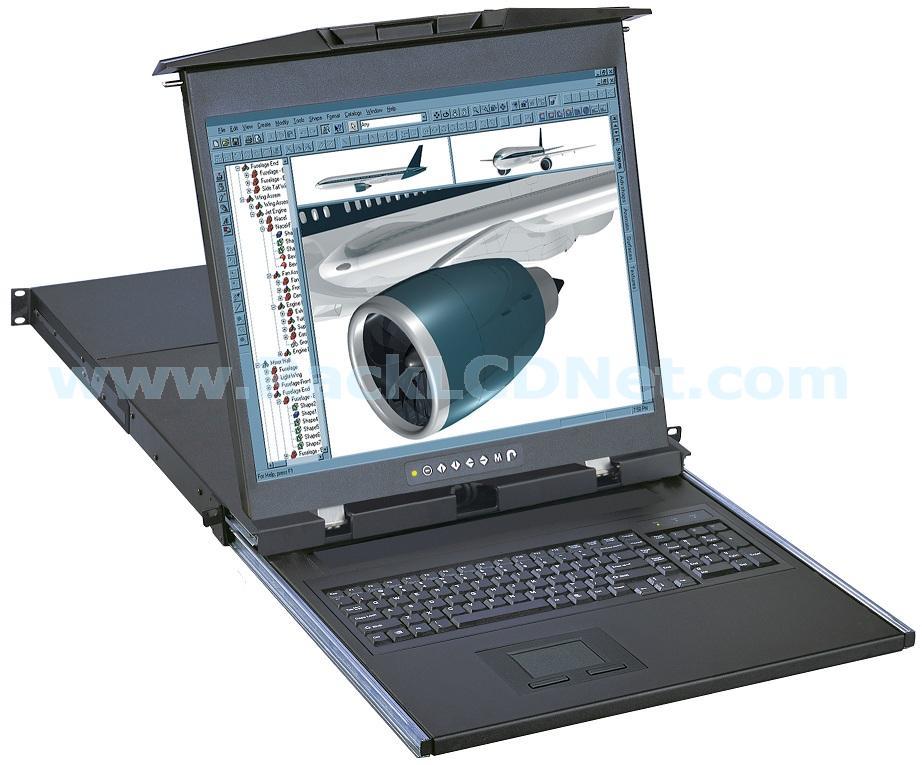"1U 17"" Dual Slide Rack Mount LCD Monitor Keyboard Drawer with 2-console Combo CAT5 CAT6 IP KVM Switch - LMK1D17-KSG"