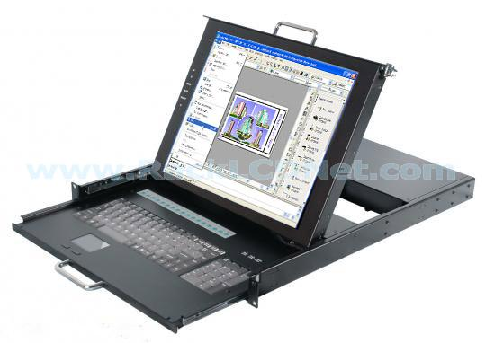 "1U 17"" Rackmount Dual Rail LCD Monitor Keyboard Drawer with 16 ports KVM switch - LMK1M-1716"