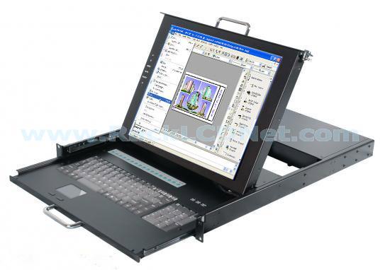 "1U 17"" Rackmount Dual Rail LCD Monitor Keyboard Drawer with 16 ports KVM switch - LMK1M-1716"