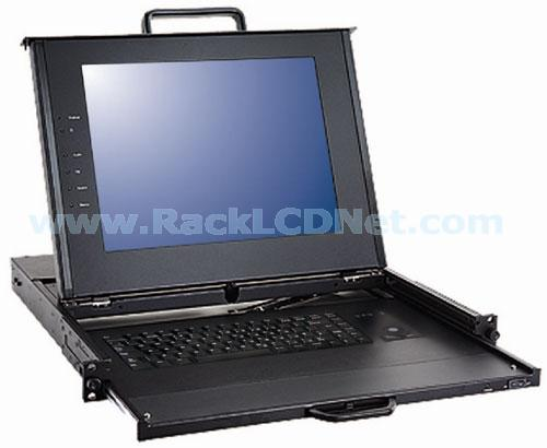 "1U 15"" Rackmount Dual Rail LCD Keyboard Drawer with 8 ports KVM Switch and Cherry Trackball Keyboard - LMK1P2-158CF-TB"