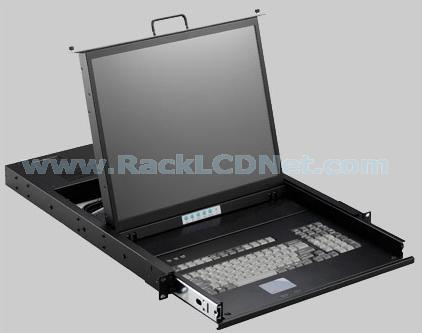 "1U 19"" Rack Mount LCD Monitor Keyboard Drawer (PS/2) with 16 ports KVM Switch - LMK1T-1916"