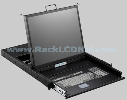 "1U 19"" Rack Mount LCD Monitor Keyboard Drawer (USB) with 8 ports KVM Switch - LMK1T-S198"