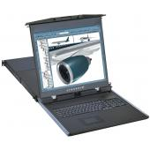"1U 17"" Dual Slide Rack Mount LCD Monitor Keyboard Drawer with Matrix DB-15 KVM Switch - LMK1D17-KSC"