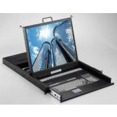 "1U 17"" Rack Mount LCD Monitor Keyboard Drawer (USB) with 16 ports KVM Switch - LMK1T-S1716"
