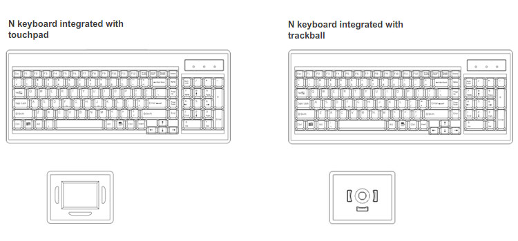 Rackmount LCD monitor Keyboard with touchpad or trackball